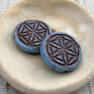 18mm Flower Of Life - Cornflower with Matte Brown Wash - 2 Beads