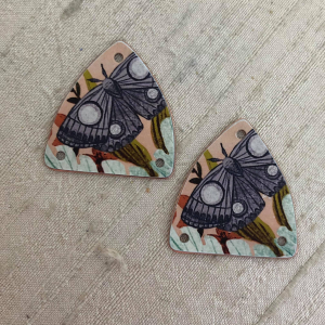Moth Forest Shield Earring Charms