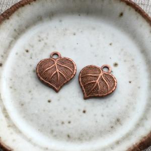 Copper Nouveau Leaf 13x12mm - Pair