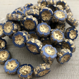 14mm Hibiscus Flower Cornflower with An Etched and Gold Finish