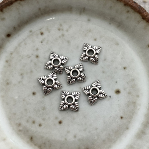 Floral Bead Cap - Antique Silver 6mm