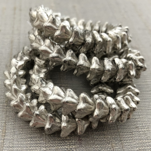 5x8mm Bell Flowers Antique Silver with White Wash