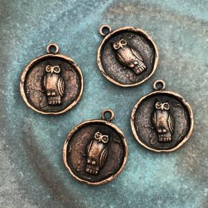 Owl Charm Antique Copper