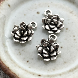 Small Succulent Charm Antique Silver - 1