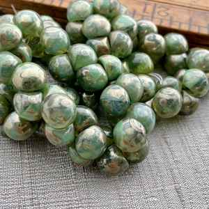 9x8mm Mushroom Button Beads Green picasso