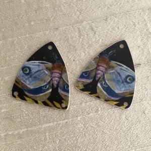 Purple Moth Earring Charms