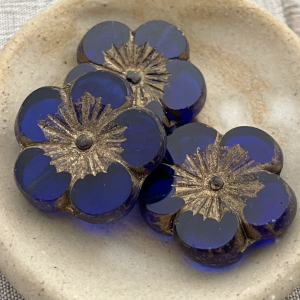 22mm Hibiscus Flower Sapphire with Gold Wash - 1 Bead