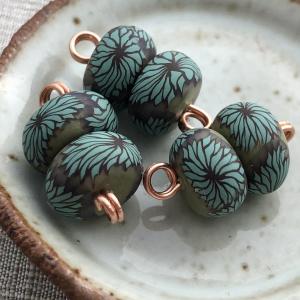 Chrysanthemum Pair Disk Beads - Teal
