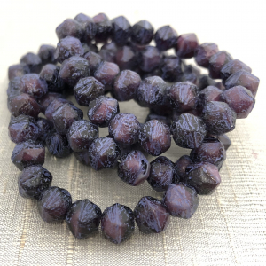 8mm English Cut Plum with Etched Finish and Purple Wash