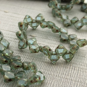 6mm Two Hole Silky Bead Sea Green with Picasso Finish