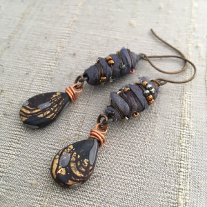 Silk Wrapped Beads Earrings