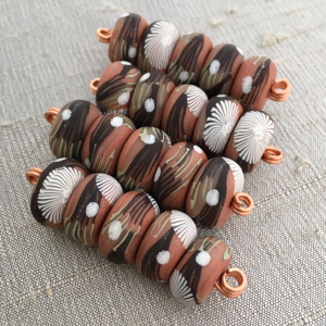 Peach Branches Disk Beads