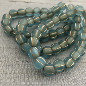 8mm Large Hole Melon Baby Blue with Gold Wash