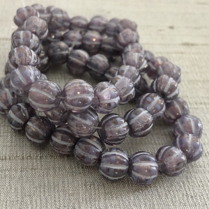 8mm Large Hole Melon Thistlewith Golden Luster and Purple Wash