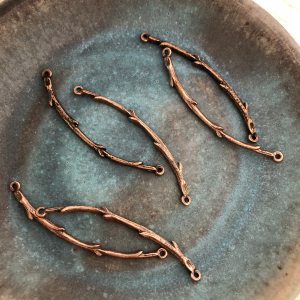 Twig Connector Bar Antique Copper Set of 2