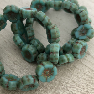 12mm Hibiscus Flower Sea Green with Picasso Finish