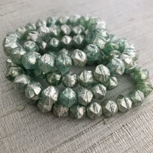 8mm English Cut Seafoam Green with Mercury Finish