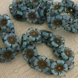 12mm Button Flower Slate Blue