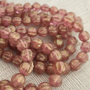 6mm Melon Medium Pink with Golden Luster
