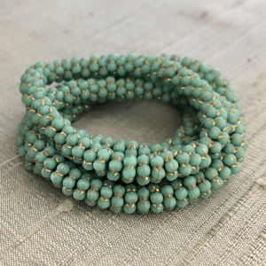 5mm Forget-Me-Not Spacers Sea Green with a Gold Wash