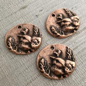The Little Warbler Pendant Antique Copper