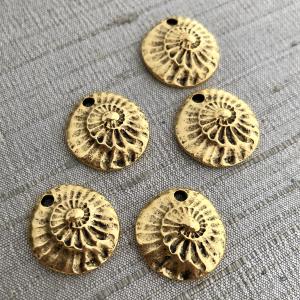 Small Nautilus Charm Antique Gold