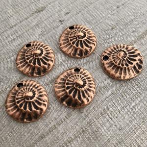 Small Nautilus Charm Antique Copper