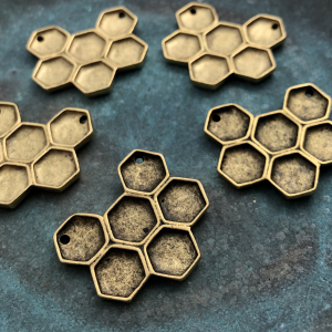 Honeycomb Pendant - 14K Gold Plated 26x23mm