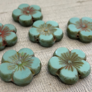 22mm Hibiscus Flower Sea Green with Picasso Finish - 1 Bead