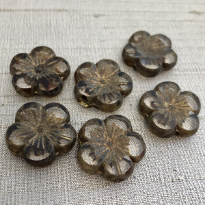 22mm Hibiscus Flower Transparent Glass with Gold Wash and Picasso Finish - 1 Bead