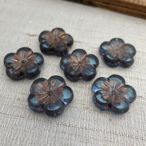 22mm Hibiscus Flower Pale Blue with a Copper Finish - 1 Bead