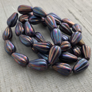 8x15mm Dangle Drop Indigo with a Bronze and Purple Finish