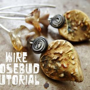 Wire Rosebud Earrings